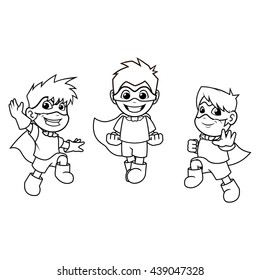 Kid Super Heroes with Jumping Flying Pose Cartoon Character Outline Version Vector Illustration