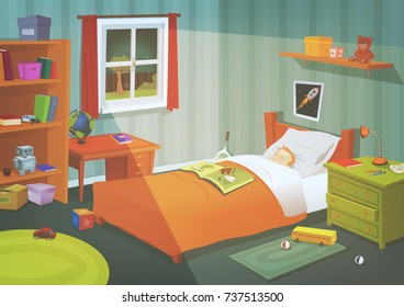 Kid Or Teenager Bedroom In The Moonlight/ Illustration of a cartoon kid bedroom with boy sleeping in the night, lifestyle elements, toys, bed, books, desk, bookshelf, and accessories in mess