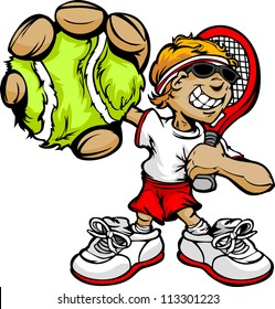 Kid Tennis Player Holding Racquet and Ball