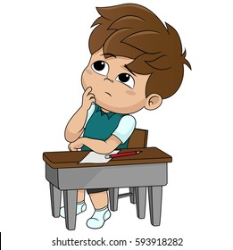 kid thinking.vector and illustration.