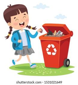 Kid Throwing Garbage In Trash Bin