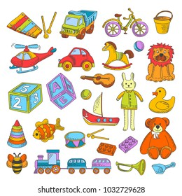 Kid toys or children playthings vector flat icons collection
