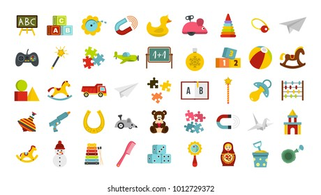 Kid toys icon set. Flat set of kid toys vector icons for web design isolated on white background
