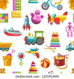 Kid toys vector icons seamless pattern. Children playthings set for kindergarten girls and boys. Flat teddy bear, pyramid and bicycle, rocket, ball and train