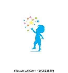 kid try to reach a Star Logo, dream Template Design, Emblem,  Design Concept, Creative Symbol,