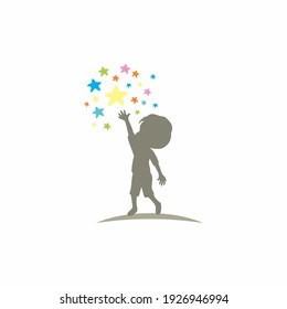 kid try reached for Star Logo, dream Template Design, Emblem,  Design Concept, Creative Symbol,