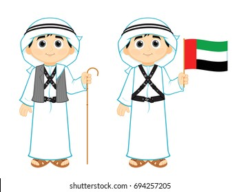 kid from United Arab Emirates ( UAE ) wearing an old Traditional Clothes