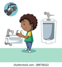 Kid washing hands, after bathroom