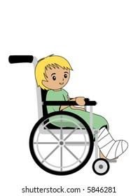 Kid in a wheelchair - Vector