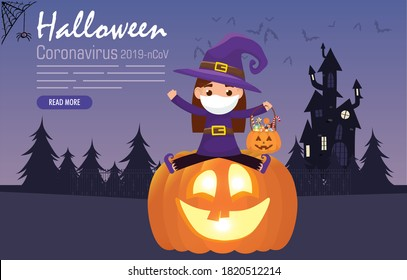 kid  in witch costume with medical mask for halloween covid 19