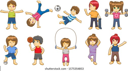 Kid workout set collection vector graphic design
