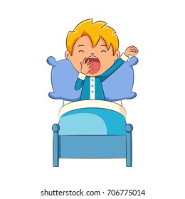 Kid yawning in bed