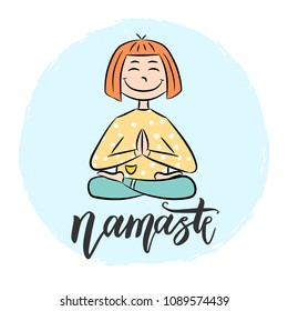 Kid yoga background with lettering Namaste. Girl sitting in lotus pose. Vector illustration.