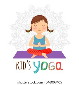 Kid yoga logo. Girl sitting in lotus pose. Vector illustration.