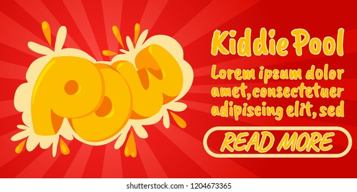 Kiddie pool concept banner. Isometric banner of kiddie pool comics vector concept for web, giftcard and postcard