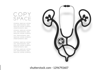 Kidney and bladder shape made from Stethoscope cable black color and Medical Science Organ concept design illustration isolated on white background, with copy space vector eps 10