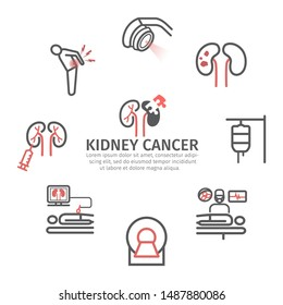 Kidney Cancer banner. Causes. Diagnostics. Line icons set. Vector signs for web graphics.