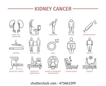 Kidney Cancer Symptoms. Causes. Diagnostics. Line icons set. Vector signs for web graphics.
