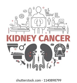 Kidney Cancer Symptoms. Symptoms, Causes, Treatment. Vector Icons.