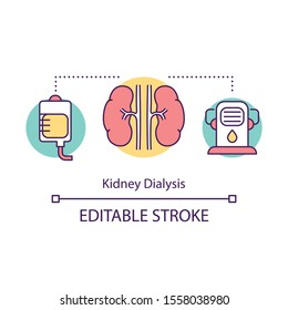 Kidney dialysis concept icon. Haemodialysis. Medical treatment. Artificial kidney machine. Filtering blood. Bioengineering idea thin line illustration. Vector isolated outline drawing. Editable stroke