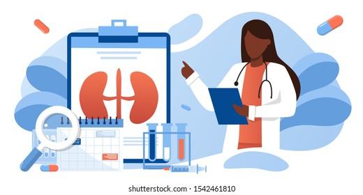 Kidney healthcare, black skin doctor doing medical research.urology and nephrology. nephroptosis, renal failure, pyelonephritis, diseases, kidney stones, cystitis. For website, app, banner, flyer