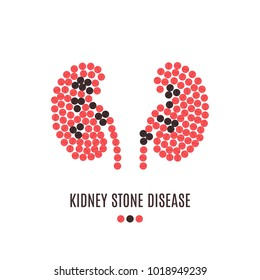 Kidney stone disease awareness poster with kidneys made of red and black pills on white background. Renal stones. Medical solidarity concept. Human body organ anatomy icon. Vector illustration.
