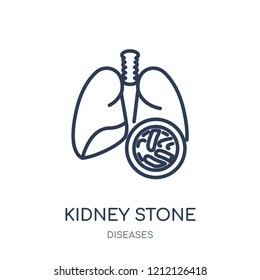 Kidney stone disease icon. Kidney stone disease linear symbol design from Diseases collection. Simple outline element vector illustration on white background.