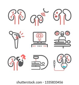 Kidney stones. Symptoms, Treatment. Line icons set. Vector signs for web graphics.