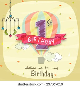 Kids 1st Birthday celebration Invitation card with mobile crib.