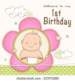 Kids 1st Birthday celebration Invitation card design with cute baby.
