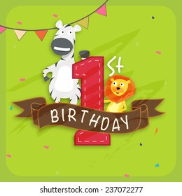 Kids 1st Birthday celebration Invitation card decorated by party flag and cute cartoon of animals.
