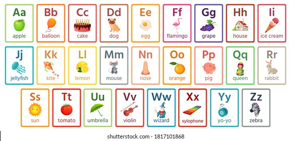 Kids ABC cards. Letter study set, english alphabet with food, animals and fairy tale characters cartoon illustrations vector collection. Flashcards for pupils or students in school learning