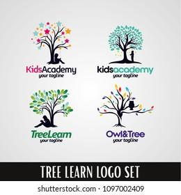 Kids Academy Tree Logo Designs Template Set