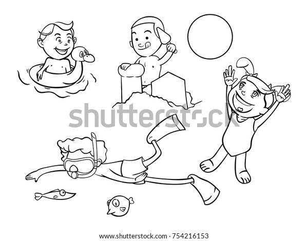 Kids Activities On Beach Coloring Book Stock Vector (Royalty Free ...