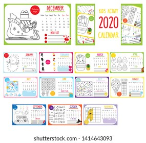Kids activity calendar. 2020 annual calendar with educational games for kids and toddlers. Coloring pages, connect the dots and other worksheet for babies. Printable template