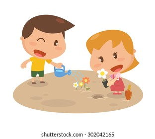 Kids activity. Growing flowers. Flat character design. vector and illustration.