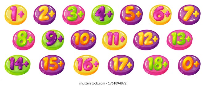 Kids age restrictions. Childrens age limit signs, figures game or movie content permission badges. Age limit baby stamps vector illustration icon set. Child limit prohibition, age plus badge