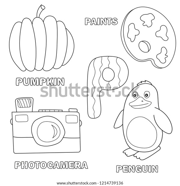 Kids Alphabet Coloring Book Page Outlined Stock Vector