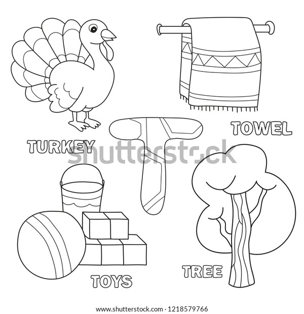 Kids Alphabet Coloring Book Page Outlined Stock Vector (Royalty Free ...