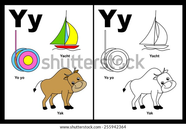 Kids Alphabet Coloring Book Page Outlined Stock Vector ...