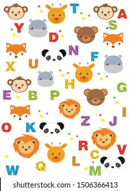 kids alphabet print with cartoon colored animals and stars on a white background