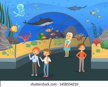Kids in aquarium. Family walk thru underwater museum with fishes and algae big aquarium tank vector background. Underwater aquarium, sea fish in oceanarium glass illustration