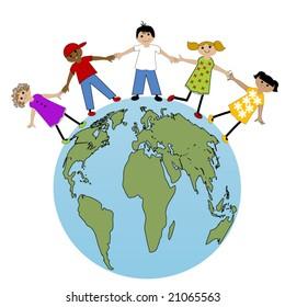 kids around the world concept