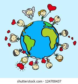 Kids around the world with love valentine hearts