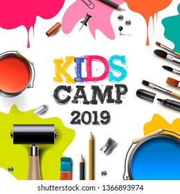 Kids Art Camp 2019, education, creativity art concept. Banner or poster with white background, hand drawn letters, pencil, brush, paints. Vector illustration.
