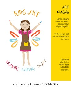 Kids art classes poster,invitation design with cute girl artist cartoon vector