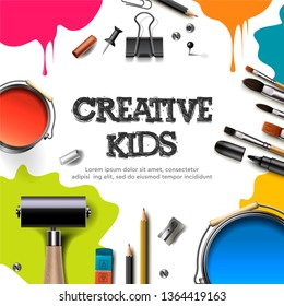 Kids art craft, education, creativity class concept. Banner or poster with white square paper background, hand drawn letters, pencil, brush, paints. Vector illustration.