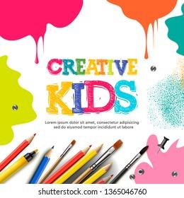 Kids art craft, education, creativity class concept. Vector illustration