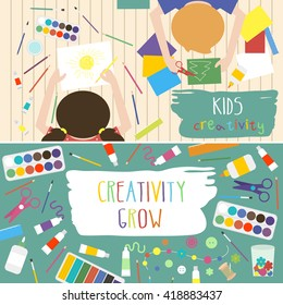 Kids Art-working process. Kids creativity vector illustration. Top view with creative kids hands. Banner, flyer for kids art lessons or school.