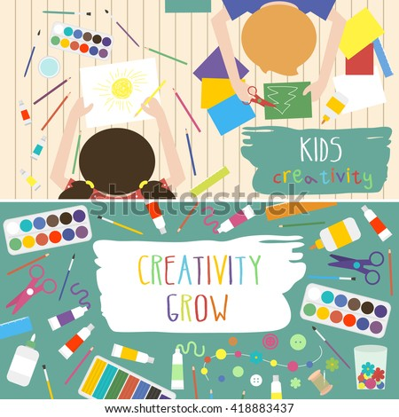 Kids Artworking Process Kids Creativity Vector Stock Vector Royalty